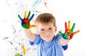 Little boy y colores brillantes — Foto de Stock