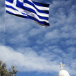 Church and flag of Greece — Stock Photo