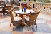 Cafe table on a balcony — Stock Photo