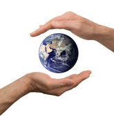 Arm hold earth — Stock Photo