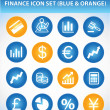 Finance Icon Set (Blue & Orange) - Stock Vector