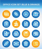 Office Icon Set (Blue & Orange) — Stock Vector
