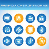 Multimedia Icon Set (Blue — Stock Vector