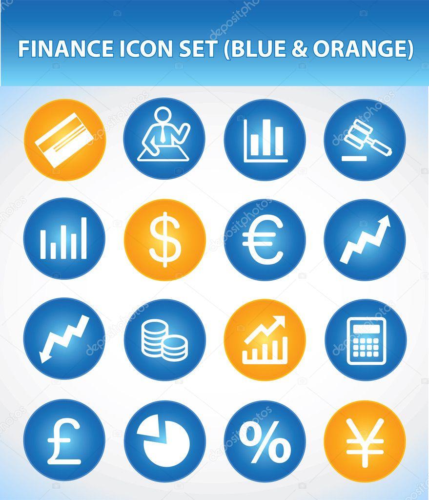 Finance Icon Set: Finance Icon Set (Blue & Orange)