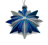Blue Christmas star isolated over a white background — Stock Photo