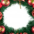 Christmas Tree Decoration garland. Isolated over white backgroun - Stock Photo