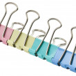 Office Colorful clothespins on a white background — Stock Photo