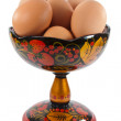 Easter eggs in a Khokhloma dish — Stock Photo