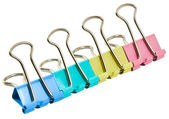 Office Colorful clothespins on a white background — Stok fotoğraf