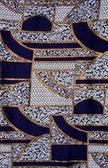 Blue tissue with gold pattern — Stock Photo