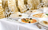 Banquet table in a restaurant — Stock Photo