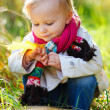 Toddler girl in autumn park - Stock Photo