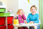 Two kids at their room — Stock Photo