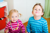 Two kids at home — Stock Photo