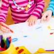 Stock Photo: Kids drawing closeup