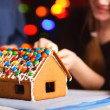 Closeup of gingerbread house — Stock Photo