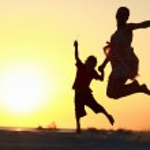 Family jumping — Stock Photo #4166465