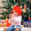Royalty-Free Stock Photo: Christmas toddler girl portrait