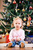Christmas toddler girl portrait — Stock Photo