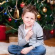 Boy near Christmas tree — Stock Photo