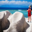 Little boy on vacation in Seychelles - Foto Stock