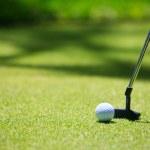 Golf stick and ball — Stock Photo