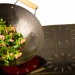 Chef cooking wok — Stock Photo