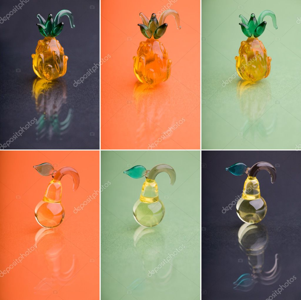 Colorful berries. Collage of glass cocktail berries photographed over colorful backgrounds  Stock Photo #4685462