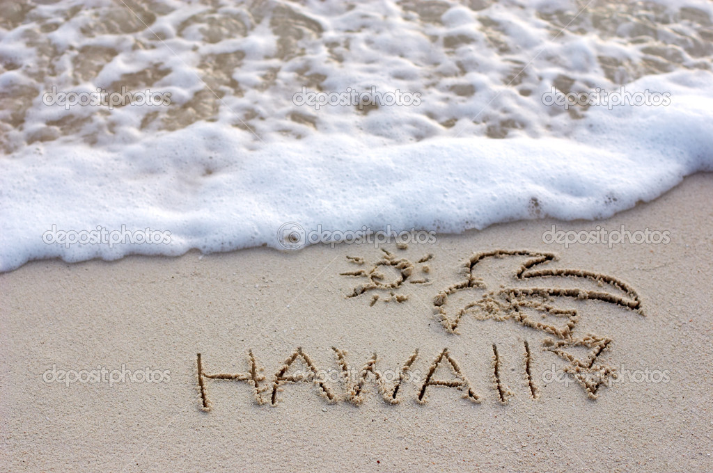 Nice Hawaii note written on white sand with ocean waves on background  Stock Photo #4685763