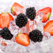 Ice Strawberries and Blackberries - Stock Photo