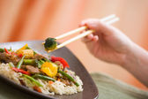 Delicious meat wok — Stock Photo