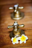 Vintage hot and cold tap — Stock Photo