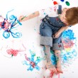 Boy painting — Stockfoto