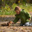 Royalty-Free Stock Photo: Little boy and squirrel