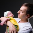 Happy young father and newborn girl — Stock Photo #4729783