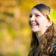 Autumn young woman — Stock Photo