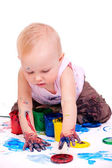 Toddler girl painting — Stock Photo