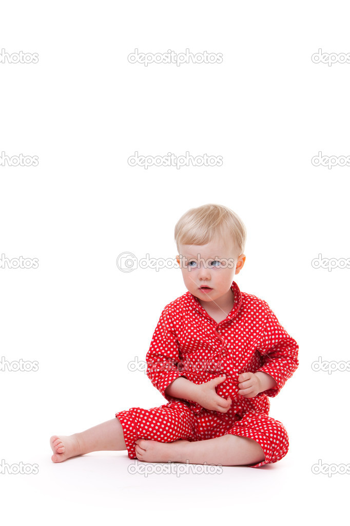 2 years old toddler girl in red pajama  Stock Photo #4729533