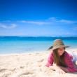 Happy girl on beach — Stock Photo #4730206