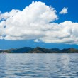 Panorama of tropical islands and big cloud - Stock Photo