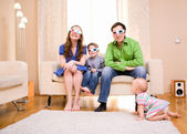 Watching 3D Movie — Stock Photo