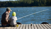 Family fishing — Foto de Stock