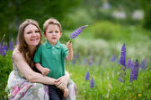 Mother and son summer portrait — Stock Photo