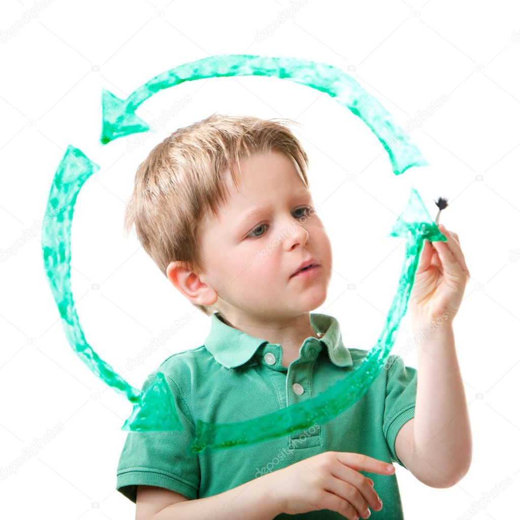 Little boy drawing recycling symbol on glass. Isolated on white. — Stock Photo #4730568