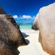 Stock Photo: Anse Source d Argent beach