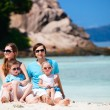 Family with two kids on vacation — Stock Photo