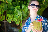 Portrait of beautiful with coconut — Stock Photo