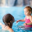 Mother and daughter at swimming pool — Stock Photo