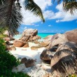Secluded beach in Seychelles - Stock Photo