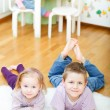 Brother and sister at home - Stock Photo